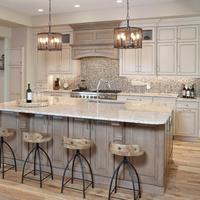 Classic Design Counter top over hang Oak Solid Wood Kitchen Cabinets
